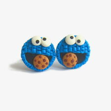 Polymer Clay Cookie Monster Blue Stud Earrings Handmade Funky Cookies Gift Idea