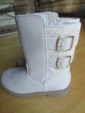Girl CAT & JACK BRAND TAUPE PEARL OFF WHITE BOOTS NWT 9