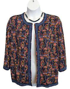 Multicolored Knit Jacket Plus Size 1X 18W 20W Open Front Blazer Joan Rivers