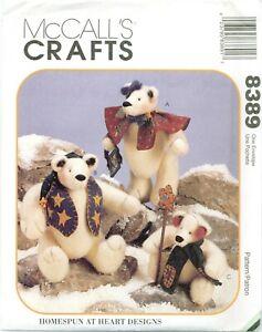 McCalls 8389 Snow Bearies BEARS Doll Clothes 9 -12 inch Plush Pattern UNCUT FF