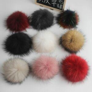 15cm Real Raccoon Mink Fur Pom Pom Press Stud Ball for Hat Shoe Bag Pompom Decor