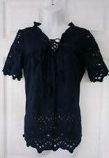 NEXT, UK 8,100% Cotton, Navy Blue Broderie Anglaise Short Sleeved Top, Tie Front