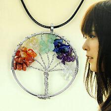 of Life Pendant Crystal Gemstone Necklace Hot 7 Multi-Color Chakra Healing Tree