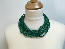 Chunky short necklace 10 strand green turquoise wooden beads