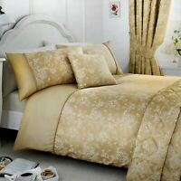 Serene JASMINE Champagne Gold Jacquard Bedroom & Curtains Collection