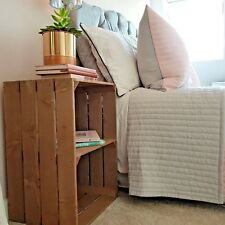 RUSTIC BEDSIDE TABLE VINTAGE STYLE WOODEN APPLE CRATE BEDSIDE TABLE NEW HANDMADE