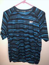 Nike Mens Dri Fit T-shirt Size L Blue And Black