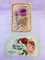 Vintage Postcards 1909 Happy Birthday Best Wishes Pink Red Rose Unposted Antique