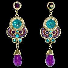 Lange Chandeliers mit lila und türkisfarbenen Kristallen und Tropfen