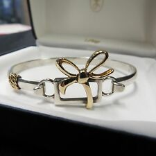 LESTAGE SILVER/GOLD BRACELET, SIZE 7 , CHRISTMAS, PRESENT, GIFT BOX W/ GOLD BOW