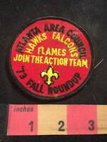 Vtg 1973 Roundup Atlanta Area Council HAWKS & FALCONS BSA Boy Scouts Patch 80XE