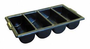 Heavy Duty Black Cutlery Tray Box Holder | Stacking Restaurant Kitchen Storage