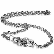 Charm Shiny Silver Tone Chunky Alloy intersect Chain handcuffs Pendant Necklace