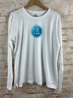 LIFE IS GOOD Women's Long Sleeve Crusher White Blue Tee T-shirt New with Tags