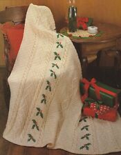 Knitting Pattern ~ Holly Aran Afghan Christmas ~ Instructions