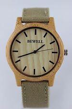 Bewell Holzuhr Herrenuhr Damenuhr Bambus 42mm Canvas Armband Top Geschenk