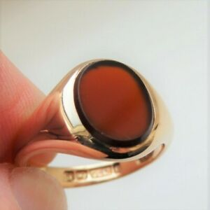 Stunning Antique 9ct Gold Carnelian Signet Ring c1915; UK Size 'N'