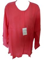 Sophia Silk Blouse Top With Long Sleeves 100/% Silk Cerise Pink Bnwt New M Medium