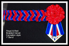 Braided Velvet Red & Blue carnation Show Browband Available all sizes
