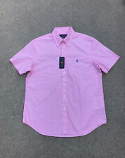 RALPH LAUREN Men's Classic Fit Button Down Shirt Pink/White NEW w/Tags
