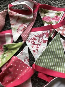 Handmade Vintage Style Cabbages & Roses Laura Ashley Fabric Bunting Nearly 7m