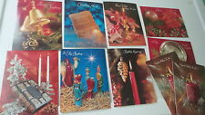 10 Vintage, 1960'S-70'S Era CHRISTMAS GREETING CARDS Assorted Designs,Unused
