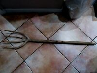 Antique Primitive Handmade Pitch Fork 4 tine  Farm Tool Vintage Rustic Country L