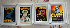 Pottery Barn Vintage Poster Appetizer Tray Hor D'oeuvres Dishes 5 Pcs Set
