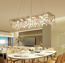 Crystal Dining Room Hotel Light Parlor Rectangle Pendant Lamp Ceiling Fixtures