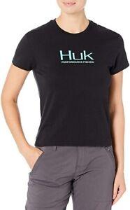 HUK Women's Teal logo Crew Ladies Fishing T-Shirt  Size Large NEW!