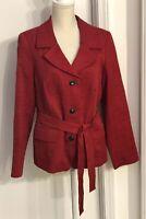 Marina Rinaldi Women's Belted Blazer Jacket Button Down Size 21 Red Textured NWT