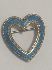 Sterling Silver And Enamel Heart Shaped Brooch / Pendant