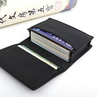 Men Black Leather Expandable Credit Card ID Business Cards Holder Wallet Case
