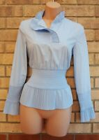 H&M BLUE COTTON STRETCH PLEATED LONG SLEEVE FIT PEPLUM BLOUSE T SHIRT TOP 6 8