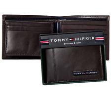Genuine New Tommy Hilfiger Brown Leather Men Cambridge billfold wallet Authentic