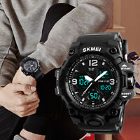 SKMEI Men's Military Style Digital Sports Analog Dual Shock Quartz Watch Black