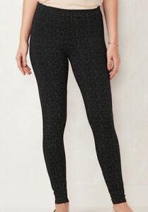 LC LAUREN CONRAD Women's Black Dot Midrise Cotton Blend Skinny Leggings Size XS