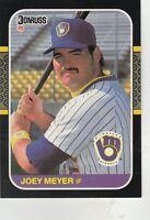FREE SHIPPING-MINT-1987 Donruss Milwaukee Brewers Basebal #460 Joey Meyer ROOKIE