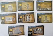 Vintage,8 greek phone cards of seven ancient miracles 2001- 2002, low tirage.