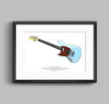 Kurt Cobain's Fender Mustang Custom guitar ART POSTER A2 size