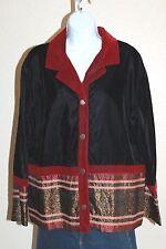Coldwater Creek Black/Burgundy Velvet Velour Unlined Jacket Blazer Coat SZ LG