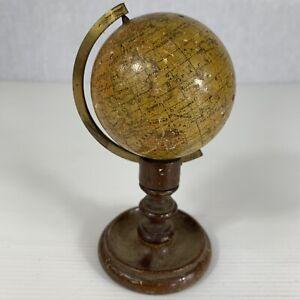 "Antique Pocket Miniature Terrestrial Globe Smith & Son London 2.6"" Outline Earth"