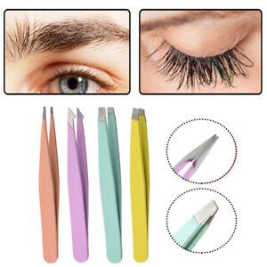 Stainless Steel Tweezers for Hair Eyebrow Plucker Puller Nail Slanted Flat Tip