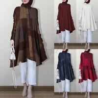ZANZEA Womens Muslim Abaya Plaid Check Long Tops Casual Loose Tunic Shirt Blouse