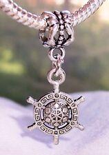 Captains Wheel Nautical Aztec Pattern Dangle Bead fits European Charm Bracelets