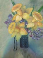 VINTAGE YELLOW DAFFODIL JONQUIL NARCISSUS STILL LIFE GLASS VASE GARDEN PAINTING