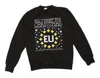 All We Do Is Mens Size S Cotton Blend Graphic Black Christmas Brexit Sweatshirt