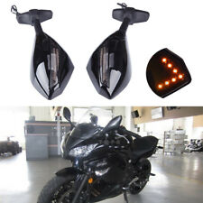 Motorcycle Side Mirrors With LED Turn Signals For Kawasaki Ninja EX650R ZX6R MT