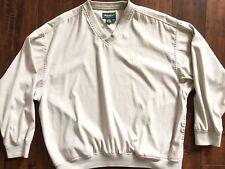 Mens Eddie Bauer Golf Jacket Windbreaker Beige Sz Large Polyester Lightweight