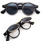 Small Retro Steampunk Circle Flip Up Glasses / Sunglasses